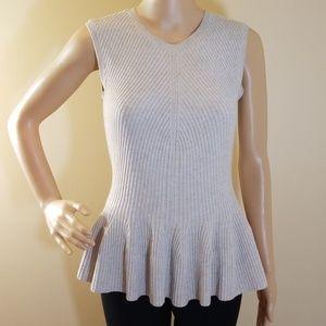 Rebecca Taylor Sleeveless Sweater Peplum Top.